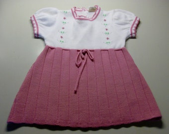 Mauve and White Knitted Vintage Baby Dress-Size Small 15 to 20 Pounds