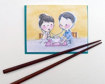 Ramen Kiss Greeting Card - Valentine's Day // Anniversary // Date // I Love You // Ramen // Japan