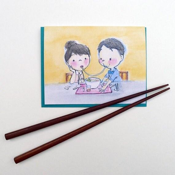 Ramen Kiss Greeting Card - Valentine's Day // Anniversary // Date // I Love You // Ramen // Japan