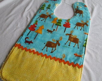 Special Needs Chenille Bib XL with 3 absorbent layers featuring Moose Forest Fun fabric