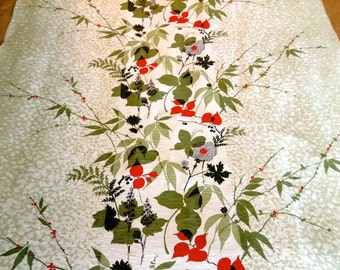 Fun Woodland Foliage Flowers and Butterflies Mid Century Fabric// Nubby Textural Floral// Acetate Yardage