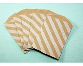 """25 Small White Diagonal Stripes Kraft Bag . 2.75"""" x 4"""" for Favors, Candy, Gift Wrap, Packaging"""