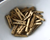 25 Mini Clothespins in Gold