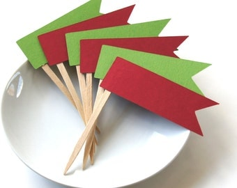 12 Christmas Flag Pennant Cupcake Toppers, Party Picks or Skewers
