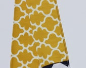 Camera Strap Cover- lens cap pocket and padding included- Mustard Quatrefoil/ Navy Chevron