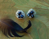 Magpie Nest Post Earrings - Silver wire and Black Crystals Birds Nests