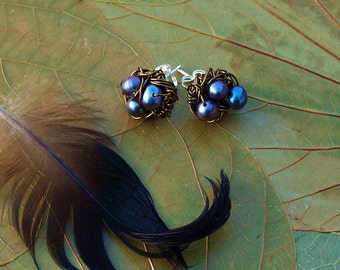 Magpie Nest Post Earrings - Peacock Freshwater Pearl Birds Nests