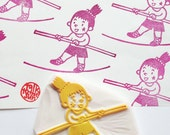 circus girl hand carved rubber stamp. tightrope walker stamp. sports stamp. fairytale birthday scrapbooking. gift wrapping. holiday crafts