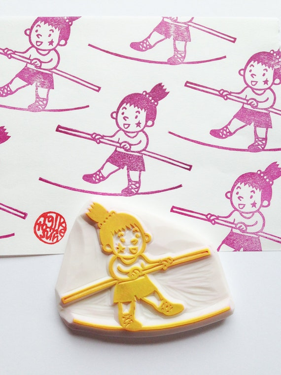 Circus girl hand carved rubber stamp tightrope walker