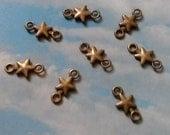 SALE - 80 two-hole star connectors, bronze tone, 15mm, SALE