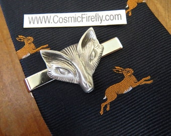 Silver Fox Tie Clip Men's Gifts For Him Men's Tie Clips Silver Tie Bar Cosmic Firefly
