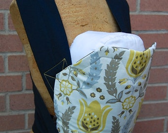 Reversible Mei Tai Carrier - Yellow Floral Damask and Brown Stripes