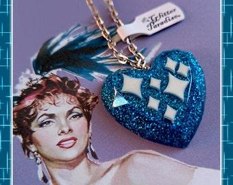 Confetti Lucite Sparkles Heart Blue