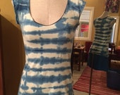 Indigo Shibori - Stretch Hemp and Organic Cotton Cap Sleeve Tie-dyed Tee