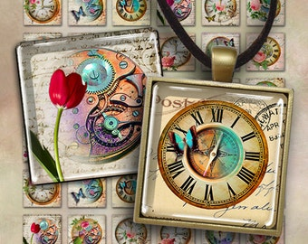 1x1 inch and 7/8x7/8 inch size images WATCHING TIME Digital Collage Sheet printable download for square pendants magnets bezel trays