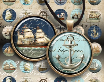 """1 inch (25mm) and 1.5"""" size circles OLD NAVY SHIPS Printable Digital collage sheets for round glass or resin Pendants bezel settings magnets"""