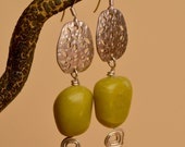 SALE. Olive Jade Silver Earrings. Chartreuse Jade Gemstones  Silver Mixed Metal  Earrings.