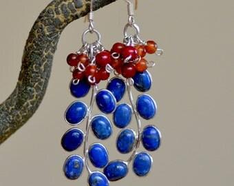 Lapis Lazuli Silver Earrings. BLUE BERRIES Earrings. Lapis Lazuli and Orange Carnelian Gemstone  Sterling Silver Earrings. Fine Jewelry.