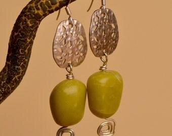 Olive Jade Earrings.  Silver Earrings. Chartreuse Jade Gemstones  Silver Mixed Metal  Earrings.