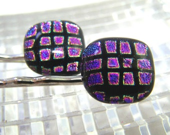 Magenta Purple  DICHROIC Pair of Bobby Pins- Hair Pins by Leslie Dana One of a Kind ART GLASS