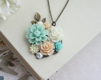 Mint, Peach, Aqua Blue, Ivory, Pearl, Brass Leaf Sprig Flower Collage Necklace. Maid Of Honor, Bridesmaids Gift, Peach Mint Rustic Wedding