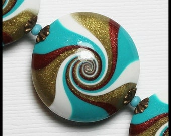 Calypso... Handmade Polymer Clay Beads Set Swirl Spiral Turquoise Teal Aqua Bronze Copper White Antique Brass Bead Caps Jewelry Supplies