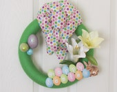 Easter Wreath, Yarn Easter Wreath, Bunny Wreath, Pastel Colored Wreath