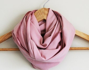 READY TO SHIP - Upcycled Infinity Scarf - Great Gift - Rose Pink - Upcycled Rayon - Soft and Cozy