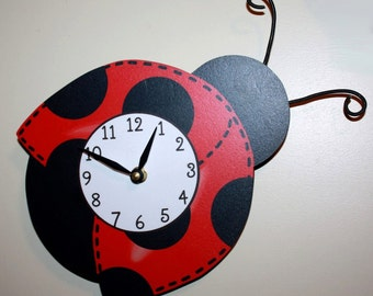Red Mod Ladybug Wooden WALL CLOCK for Girls Bedroom Baby Nursery WC0022