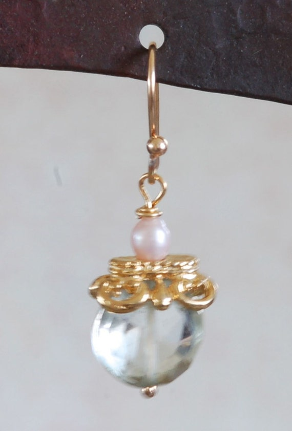 Green Garnet and Pearl Earring