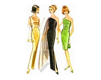 60s Pauline Trigere One Shoulder Sheath Dress Pattern, Sheer Scarf, McCall's 8042, Bust 32, Sexy Evening Gown, Vintage Sewing Pattern