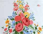 vintage cotton tablecloth, Summer flowers, cotton, excellent condition, 64 x 52 inches