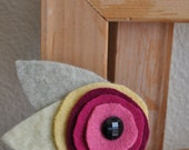 Wool Felt Flower Brooch with Vintage Black Glass Button, Reclaimed Clothing, Felted Wool,Mothers Day, Handmade Gift, Gifts under 20 dollars