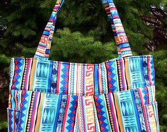 Southwest Blues Browns Stripes - Bag, Purse, Shoulder Bag, Hobo, Outside Pockets