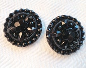 Snowflake Glass Antique Button - Vintage Jet Black in Your Choice of Sizes for Jewelry Beads Sewing Knitting