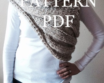 PATTERN PDF - Pattern for DIY Panem Katniss Inspired Cowl - Two Looks Easy Knitting Pattern - customizable sizes