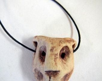 Bear Face Ceramic Pendant Necklace