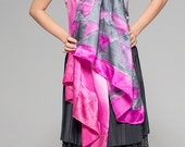Silk Shawl Purple Ombre. Hand painted silk satin scarf. Electric pink, slate scarf/ Geometric scarf. Bright colored shawl. Luxurious scarf.
