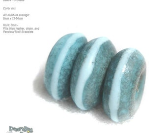 NUBBIES  83 Lampwork Bead Handmade BIG HOLE Turquoise Blue Matte  Beads  -- fits 5mm leather and  Euro-Style