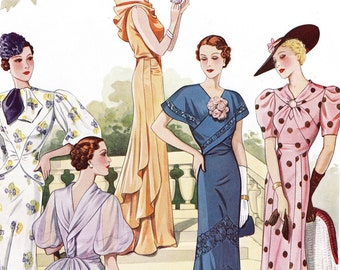 "PDF of 30s haute couture vintage sewing pattern catalog - instant download - ""Perfection"" summer 1937"