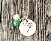 Dandelion Necklace, Dandelion Wish Necklace, Hand Stamped Dandelion Necklace, Wish Necklace, Graduation Gifts, Gifts for Grads, Adoption