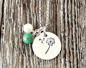 Dandelion Necklace, Dandelion Wish Necklace, Hand Stamped Dandelion Necklace, Wish Necklace, Graduation Gifts, Gifts for Grads, Adoption