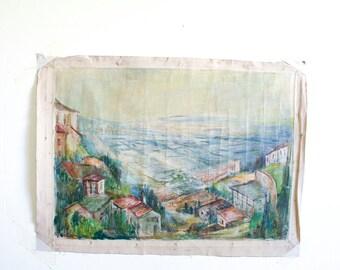 Vintage Landscape Painting / 1960's Outsider Art