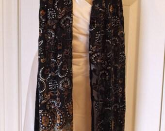 Gilded Age - Long Black Burnt Silk & Velvet Scarf