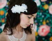 Petals, Lace, and Rhinestone bridal comb in off white ivory alencon lace