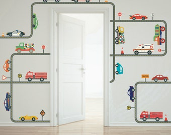 Cars, Trucks, Emergency Vehicles with Gray Straight & Curved Road Wall Decals, Removable and Reusable Eco-friendly Wall Stickers