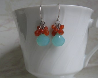 Aqua Chalcedony Earrings with Carnelian Cluster in Silver