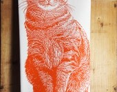 Tabby Cat Tea Towel in Orange, Cat Tea Towel, Cat Towel, Orange Cat Towel - Hand Printed Flour Sack Tea Towel