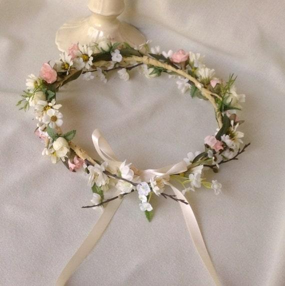 Bridal Flower Wreath For Hair : Blush bridal floral crown woodland hair wreath by amorebride