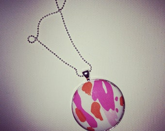 Preppy Necklace, Circle Pendant, Preppy Round Pendant, Coverbutton Pendant, Fabric Pendant Necklace, Preppy Pendant, Preppy Inspired Jewelry